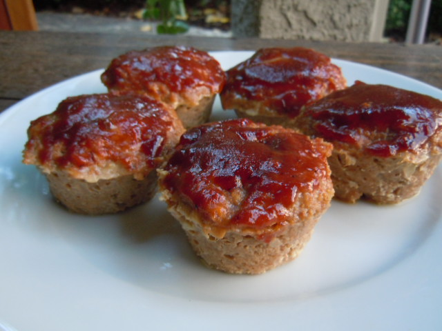 Turkey Meatloaf Muffins with BBQ Sauce..