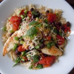 Cheddar Chicken with Warm Black Bean Salsa