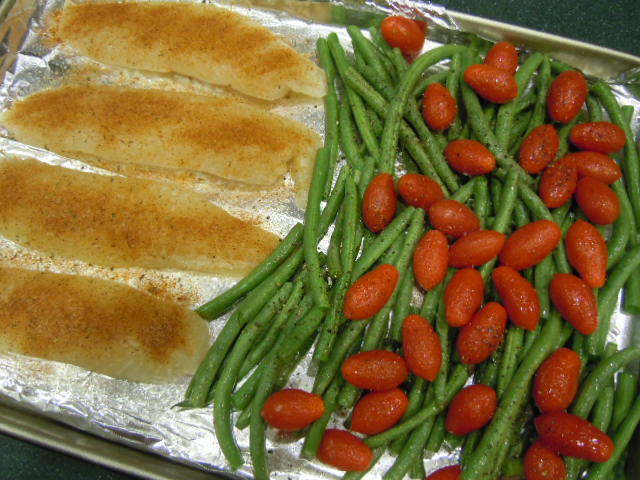Oven baked fish and vegetables