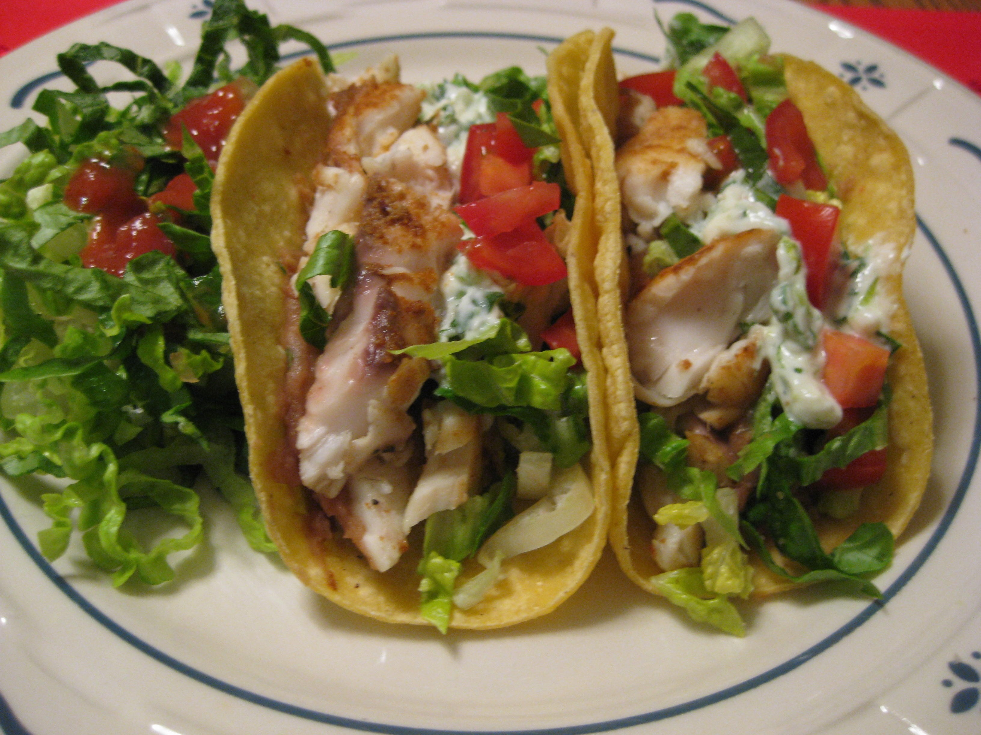 Fish tacos with lime cilantro crema nutmeg notebook for What kind of fish for fish tacos