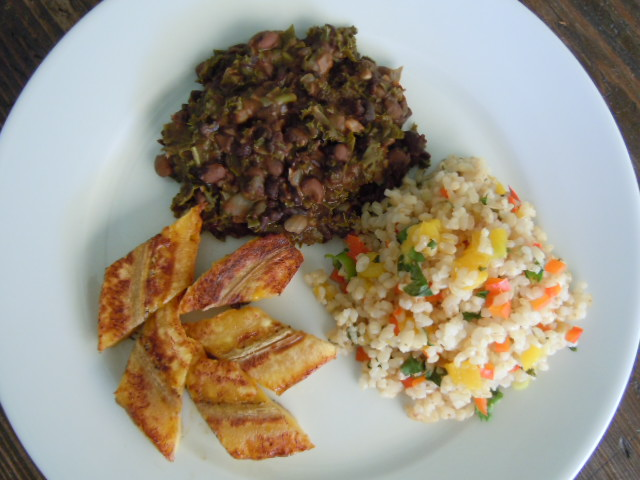 Caribbean Rice Black Beans & Baked Plantains