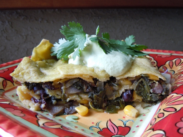 Mushroom Kale Spinach Enchilada Casserole