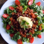 Taco Salad with Black Bean Dip & Green Chili Hummus