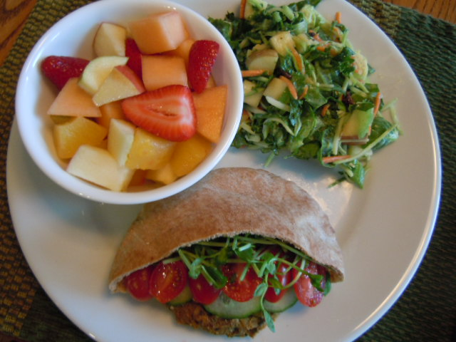 Bean Burger, Fruit Salad, Kale Broccoli Slaw