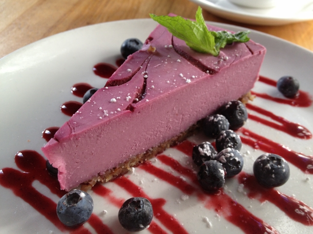 The Plant Cafe raw raspberry cheesecake