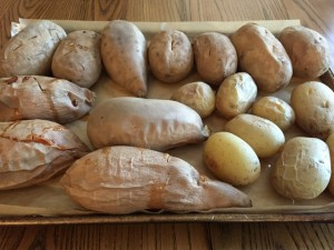 A sheet pan of baked potatoes.  Nutmeg Notebook
