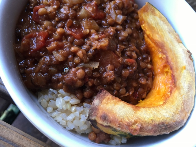 Black & Red Lentil Chili, Rice & Squash Nutmeg Notebook