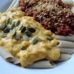 Roasted Butternut Squash Alfredo  Lentil Quinoa Bolognese