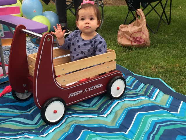 Alma checking out her new wagon. Nutmeg Notebook