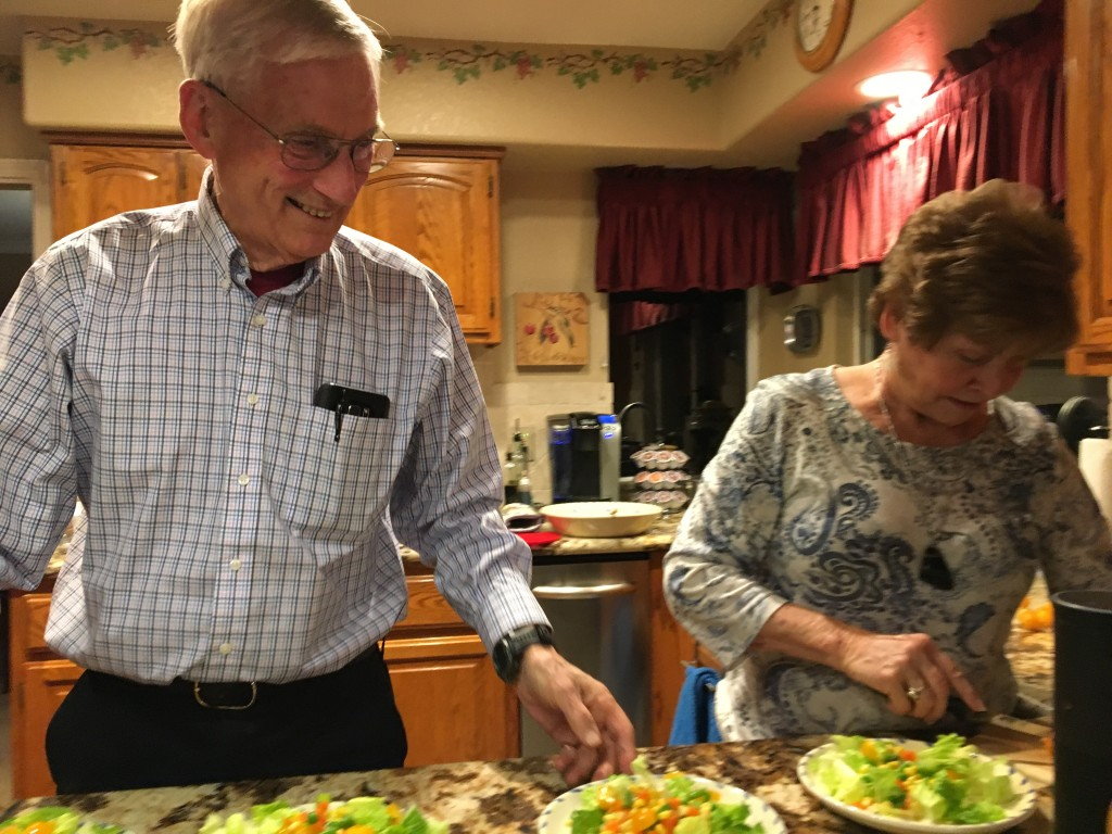 Al & Dottie making salads for us to enjoy along with an amazing WFPB dinner that Dottie made. Nutmeg Notebook