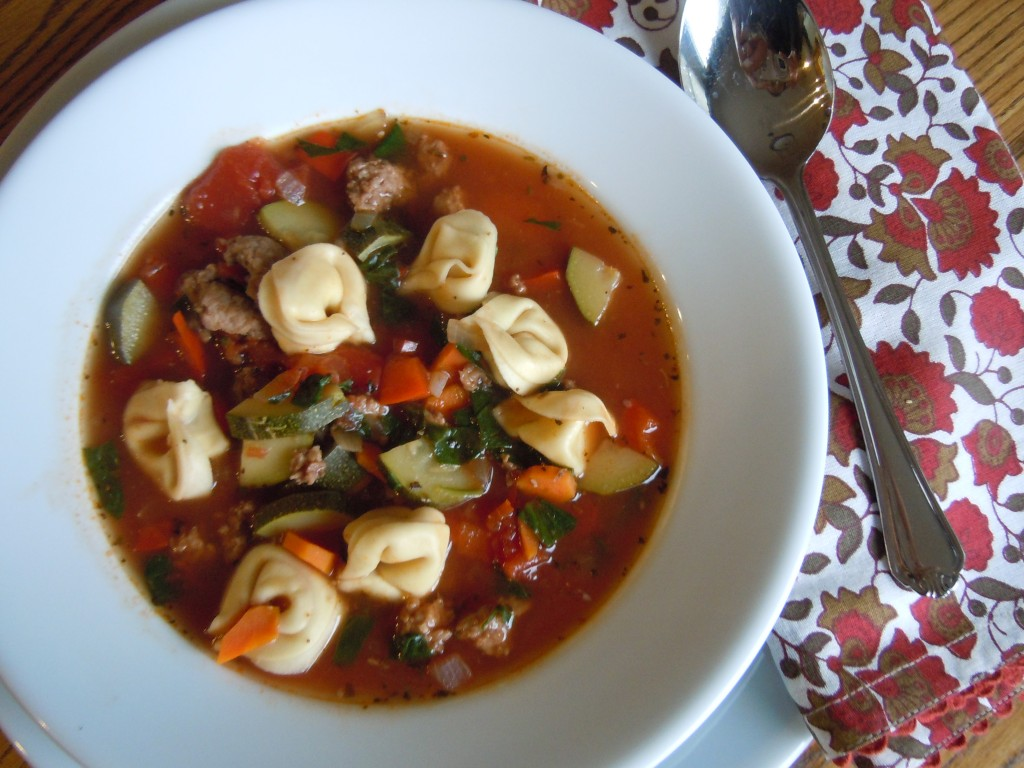 Italian Sausage & Tortellini Soup with Garlic Cheese Biscuits ...