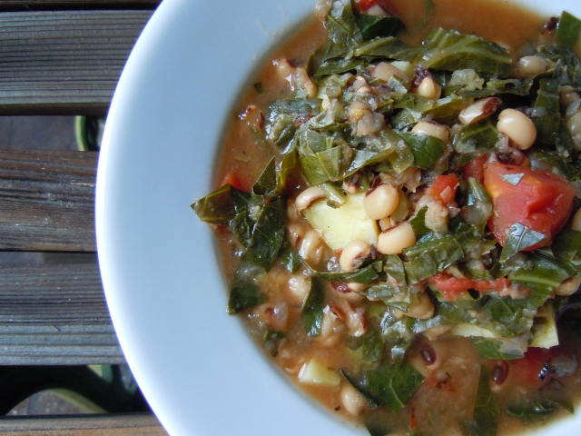 Spicy Collards & Black Eyed Pea Soup