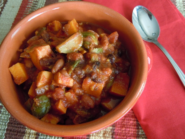 Chipotle Chili with Sweet Potatoes & Brussels Sprouts