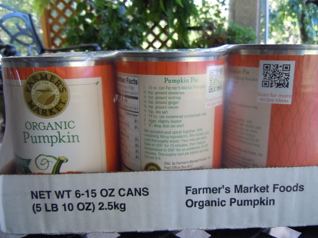 Organic canned Pumpkin Farmer's Market