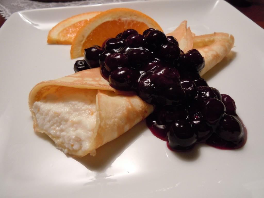 Cheese Giveaway! Orange Ricotta Filled Crepes with Blueberry Sauce ...