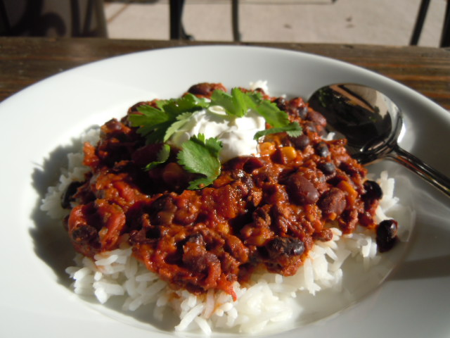 Vegetarian Black Bean & Soy Chorizo Chili