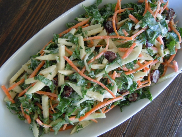 Kale Slaw with Curried Almond Dressing